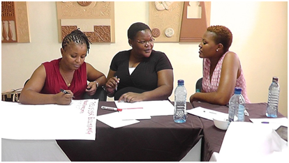 Participants share their thoughts on cyber bullying during the training on Digital Security in Mombasa. Credit/AMWIK