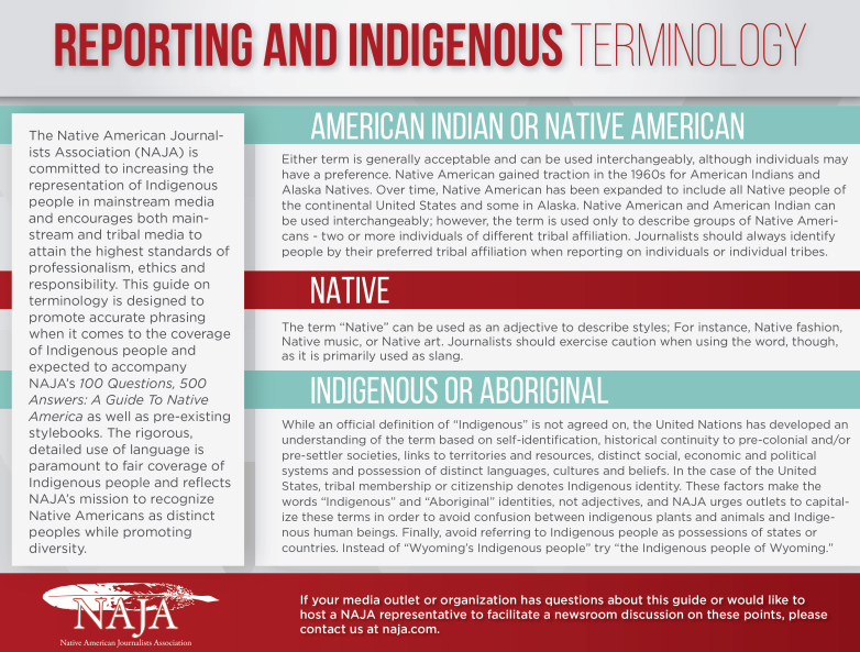 Indigenous Terminology for Reporting graphic image via Native American Journalists Association