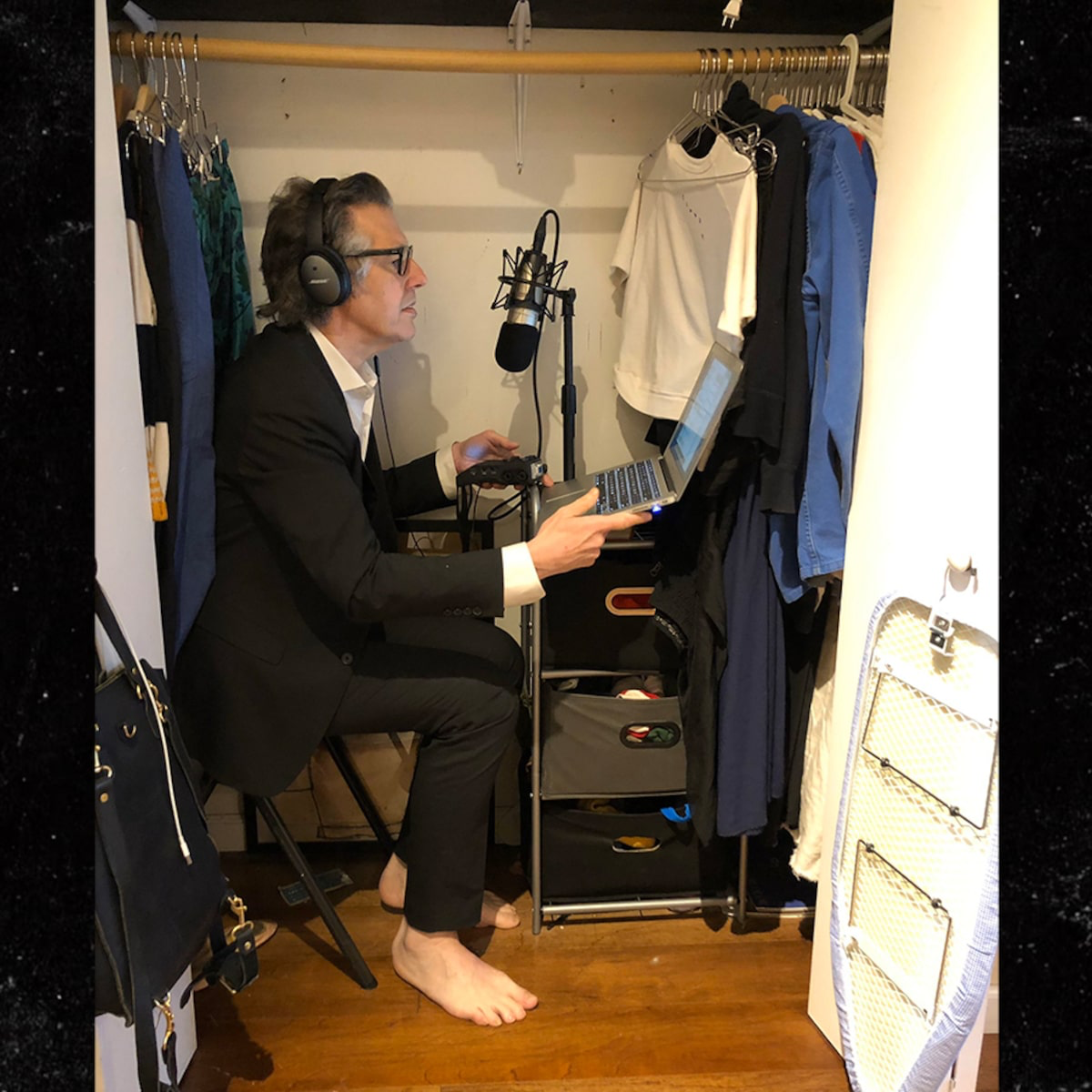 NPR's Ira Glass recording his narration at home. Via Twitter.