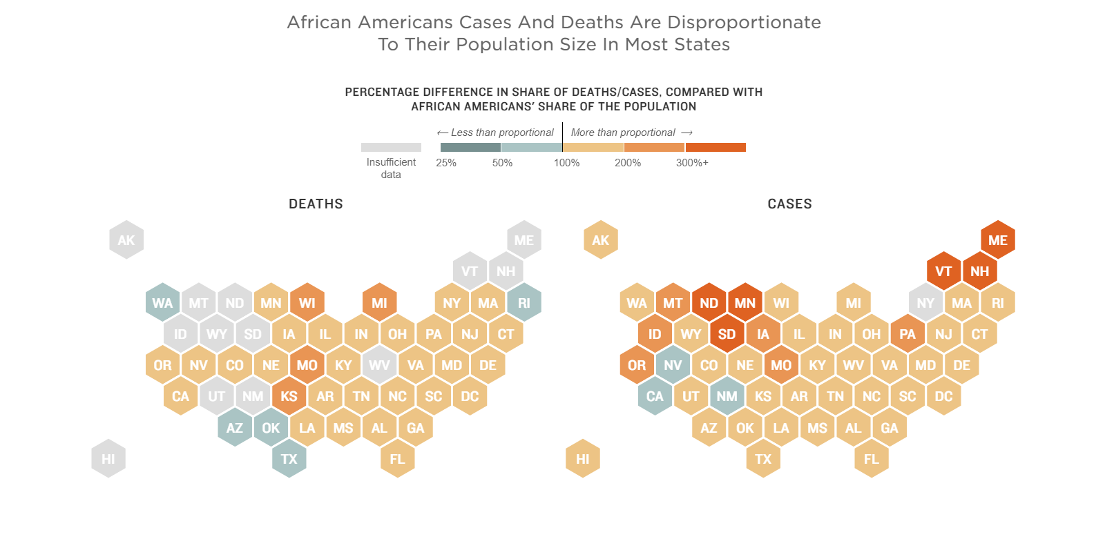 NPR chart shows African American deaths per state as a proportion of their population size