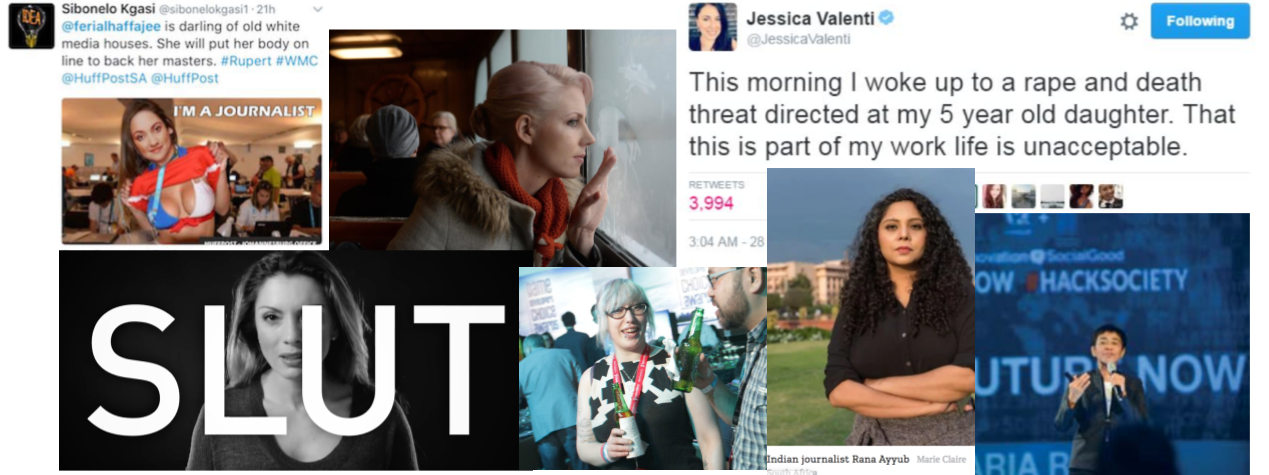 A collection of images depicting online violence against women journalists
