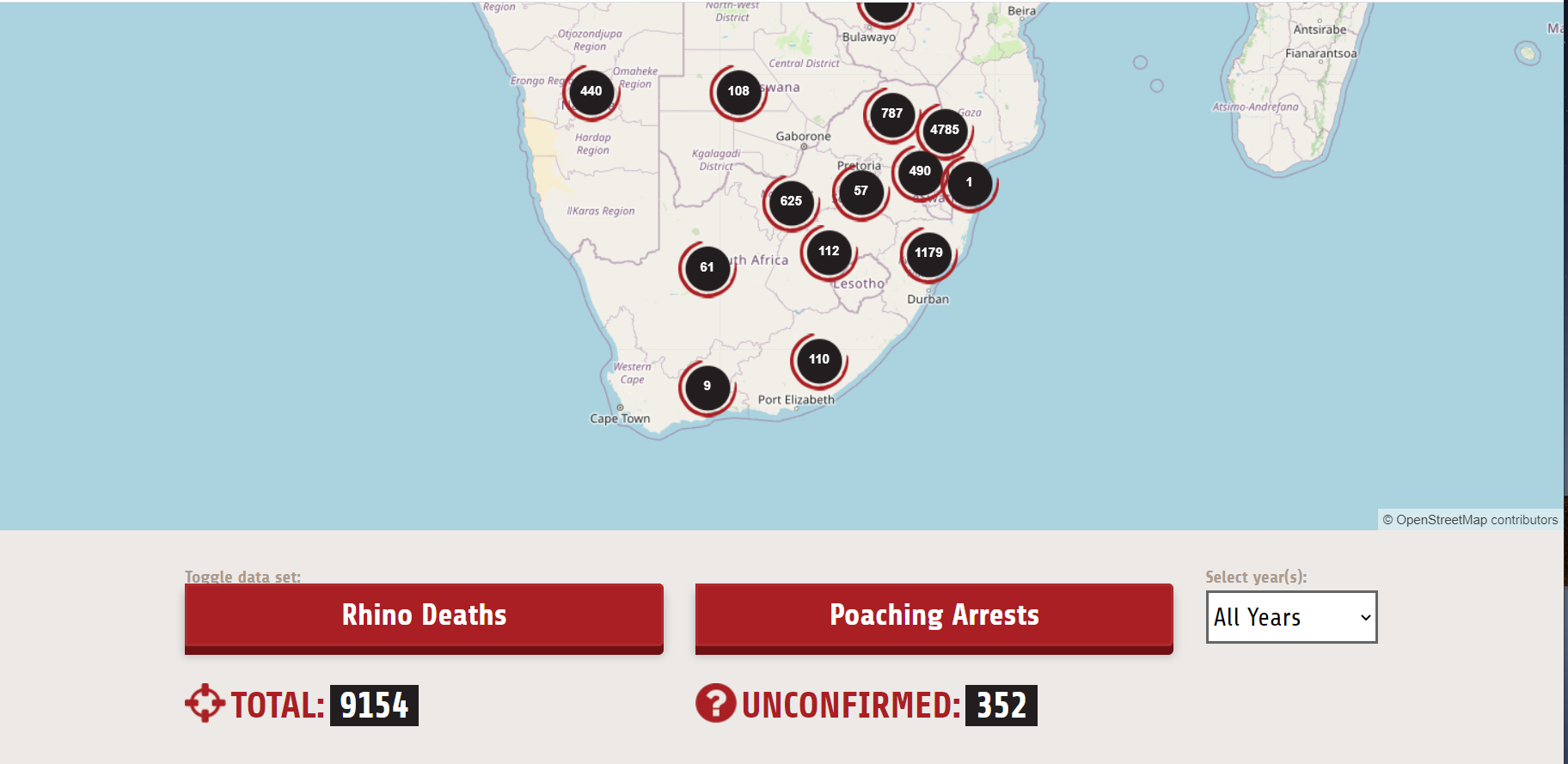 Screenshot of Oxpeckers' Rhino Poacher dashboard, which shows a map of southern Africa littered with data points