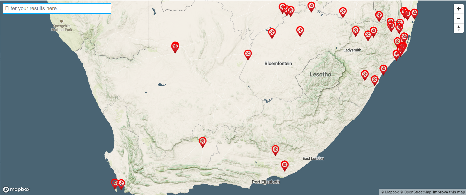 Screenshot of the Oxpeckers Rhino Court Cases dashboard, showing southern Africa littered with data points