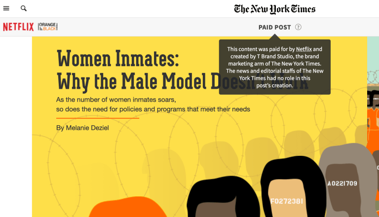 This article about women prison inmates is sponsored by Netflix.