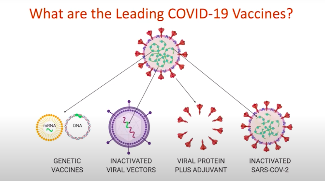 Graphic lists categories of vaccines: Genetic, inactivated viral vectors, viral protein plus adjuvant, inactivated SARS-COV-2