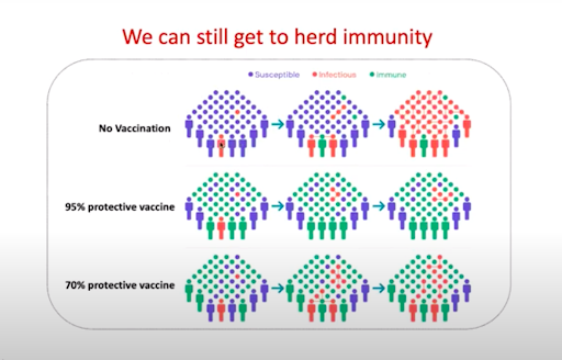 An illustration uses colored dots to illustrate that herd immunity can be achieved through both 95% effective and 70% effective vaccines (latter will have more infected people, still).