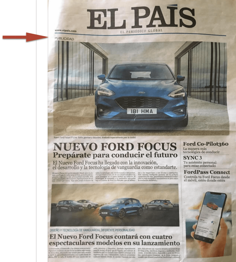 El Pais features a photo of a Ford vehicle on the front page as an ad