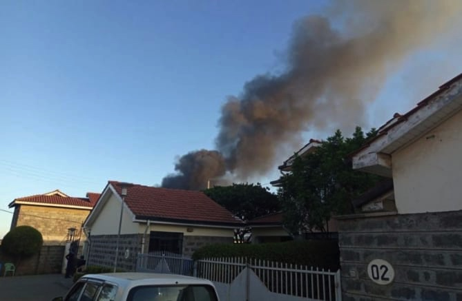 Smoke from the steel manufacturing plant as seen in the Syokimau neighborhood.