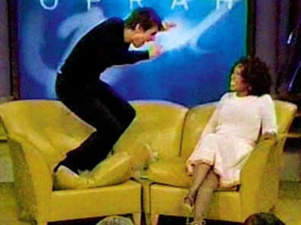 Meme of Tom Cruise jumping on couch