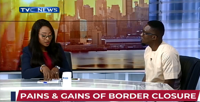 Dan-Ikapoyi discussing effects of the Nigerian border closure with economist, Harding Udoh, on TVC Breakfast.