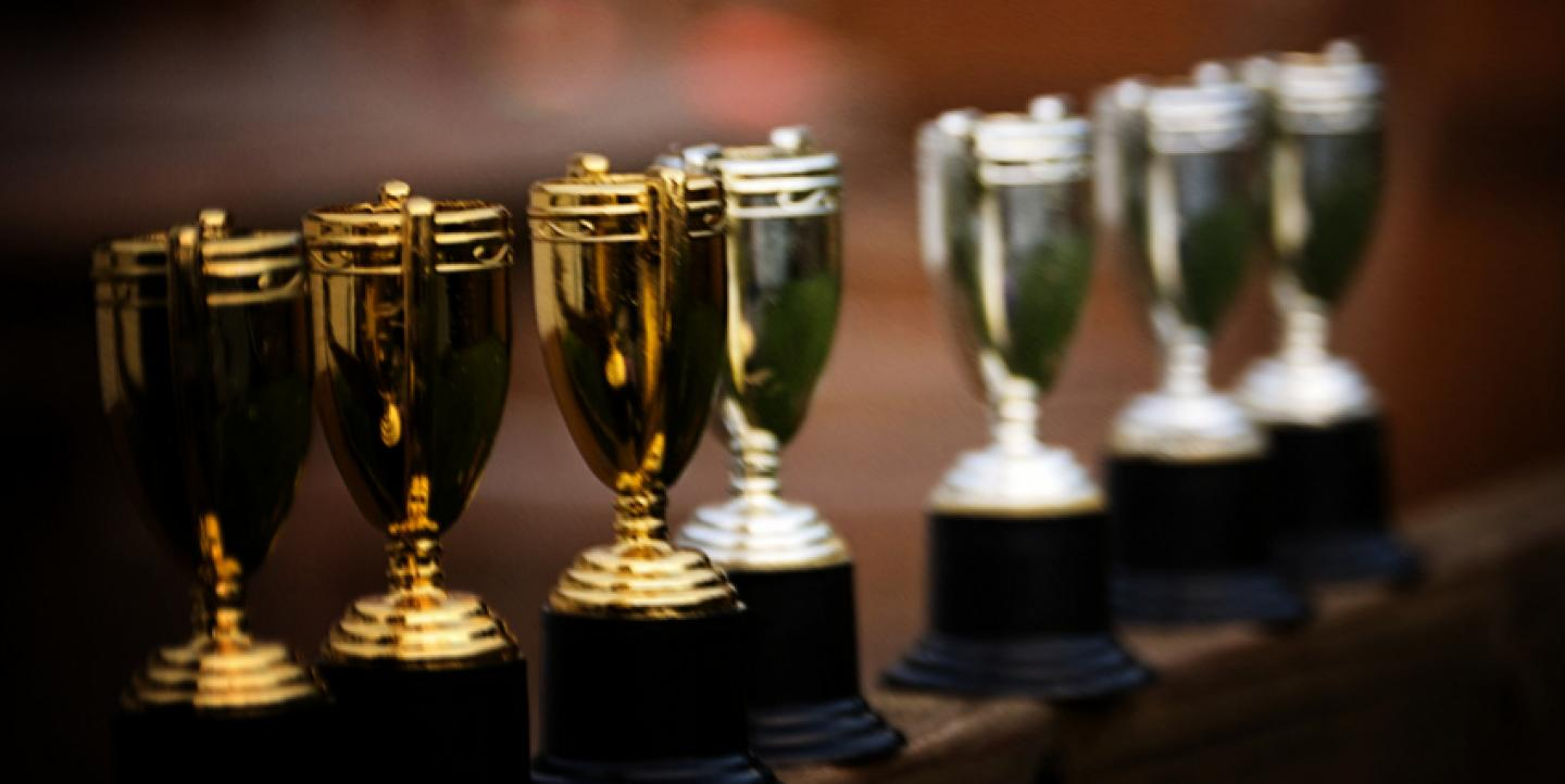 Line of trophies