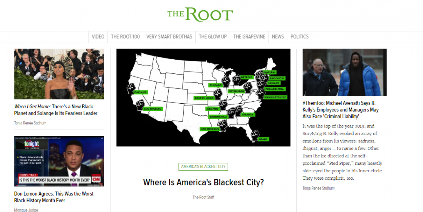 Screengrab of The Root