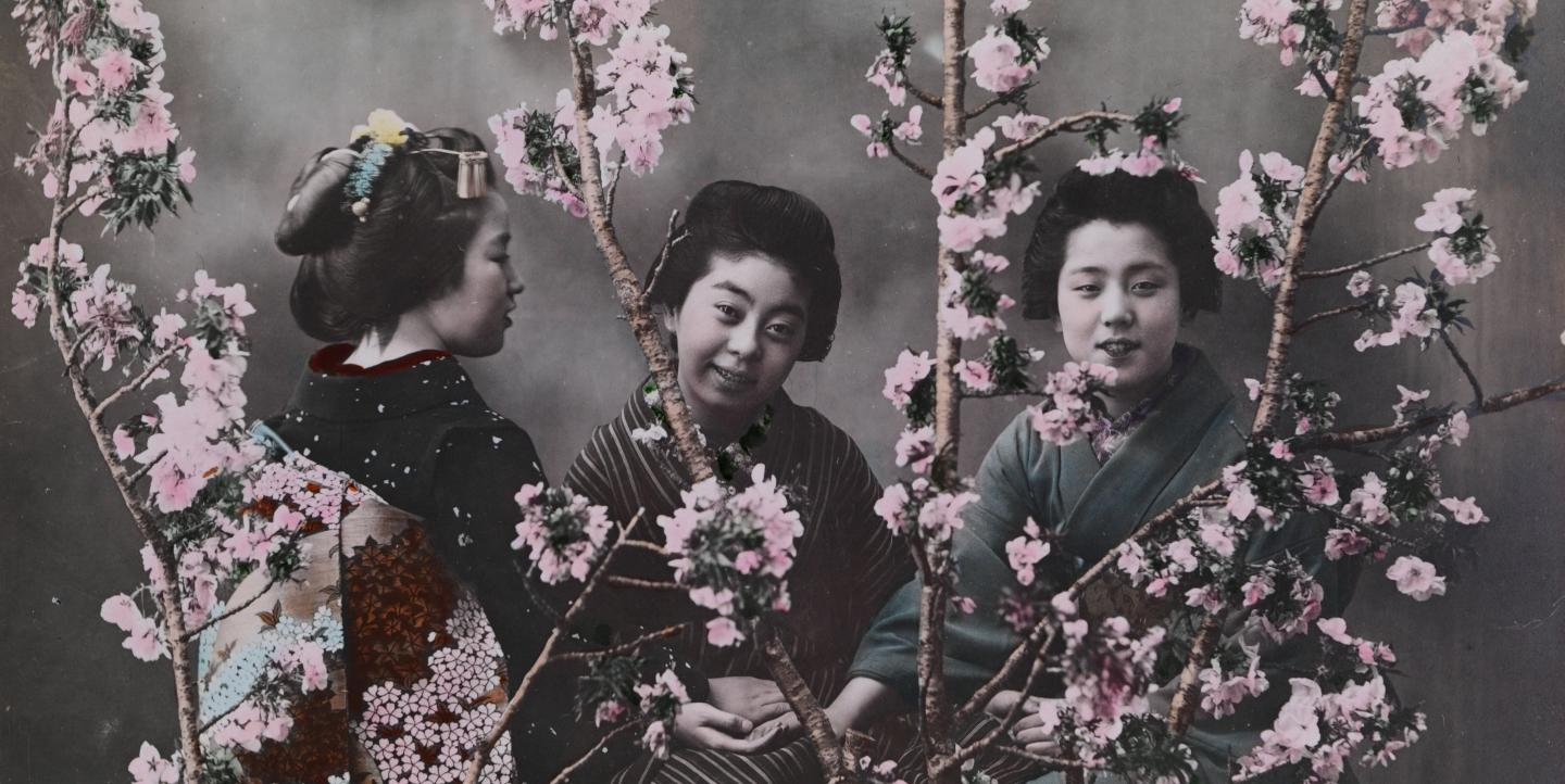 Three girls in kimonos with cherry blossoms.