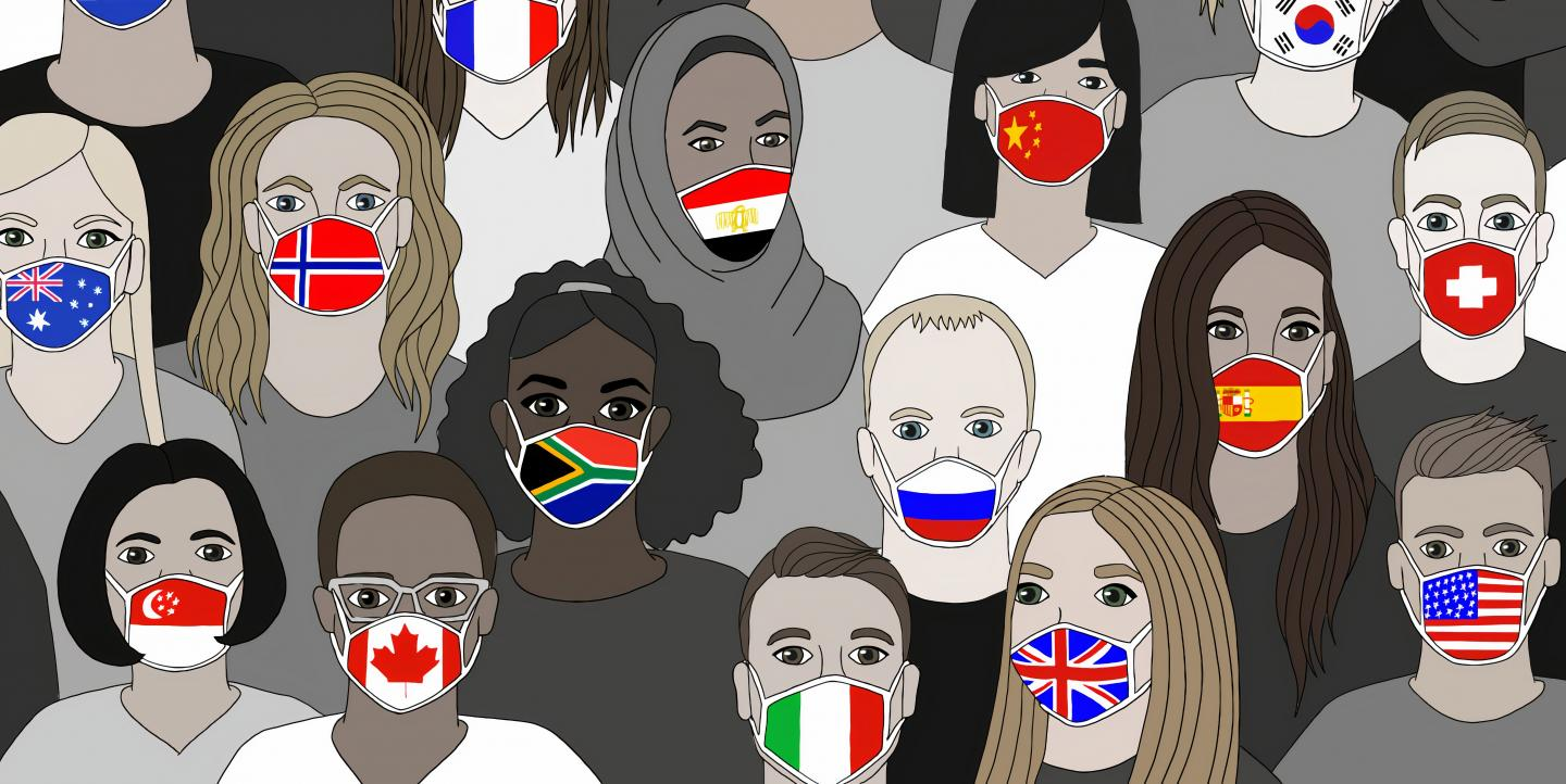 Face masks with the pattern of country flags