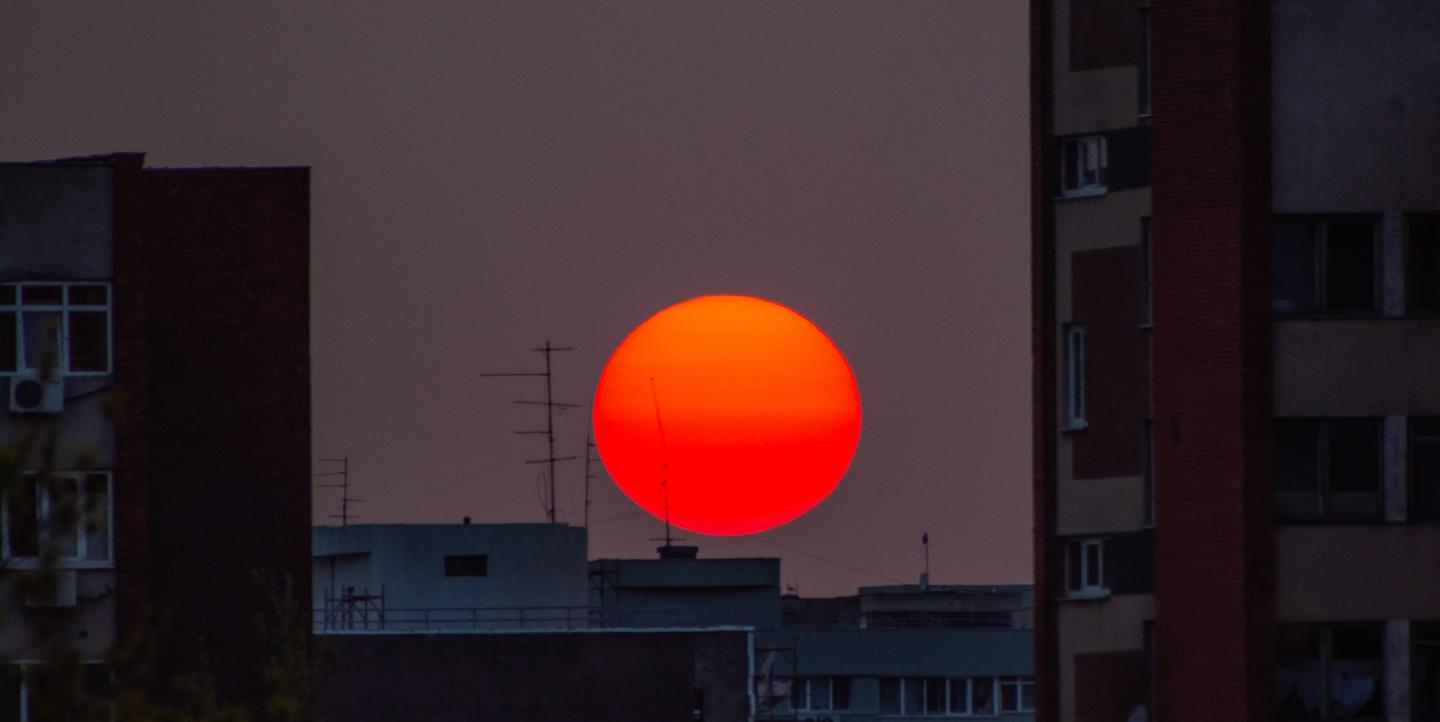 Sun setting over Bucharest