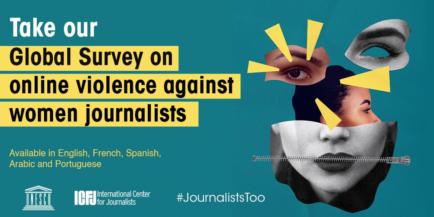 Text on image reads: Take our global survey on online violence against women journalists