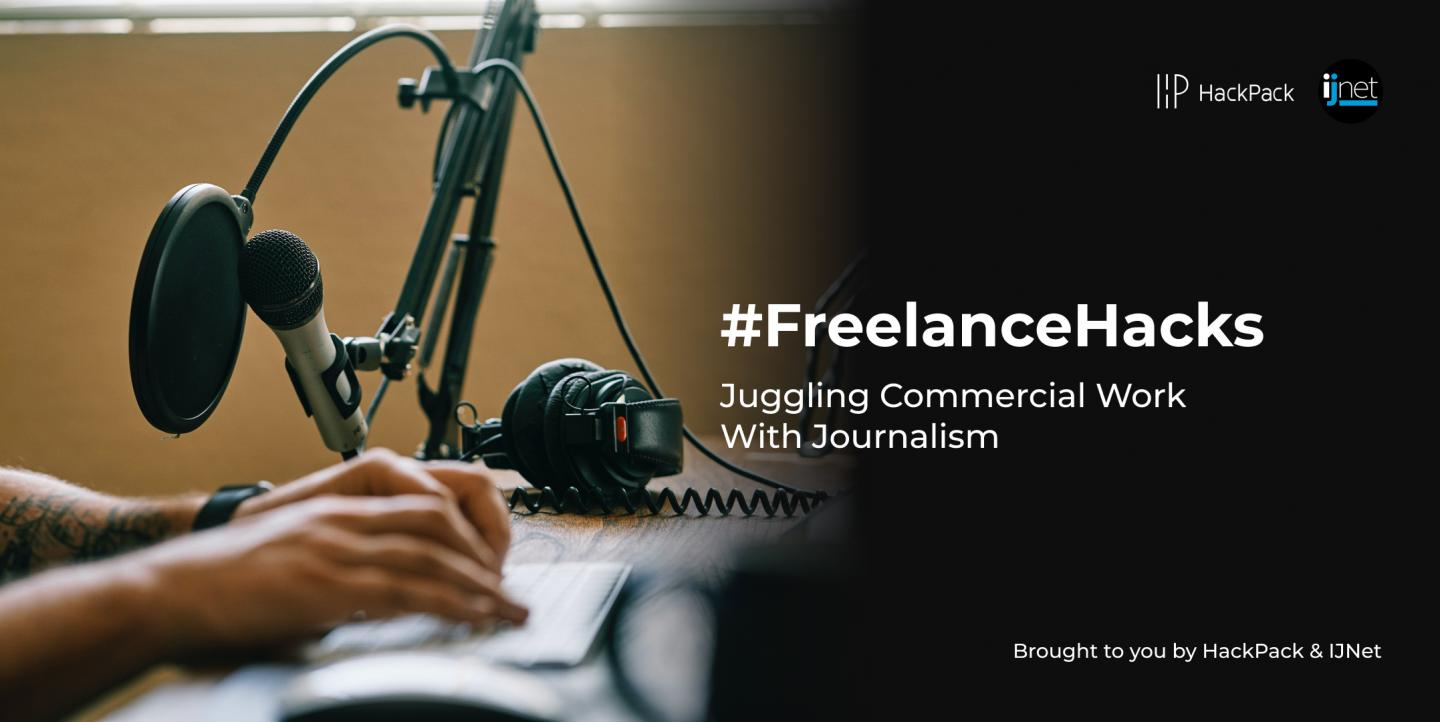 "Microfone e filtro pop, com o texto ""FreelanceHacks: Juggling comercial work with journalism"""