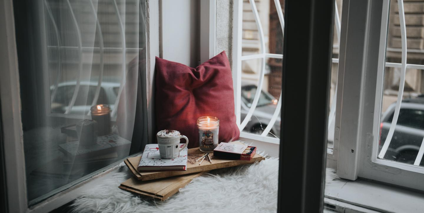 Candle and pillow