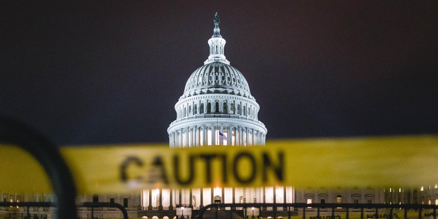 U.S. Capitol behind caution tape